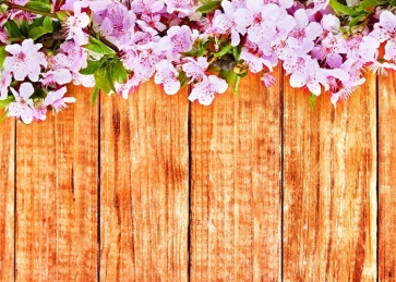 Vertical Texture Brown Wood Photo Prop Background with Pink Flowers on Top