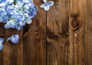 Vertical Texture Wood Photography Photo Backdrops with Blue Flowers