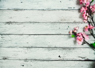 Narrow Horizontal Texture Wood Drop Studios Backdrops with Flowers