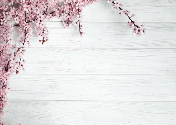 White Horizontal Texture Wood Photo Background Drops with Plum Blossom Flowers