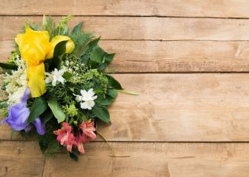 Horizontal Texture Wood Picture Backdrop with Green Leaves Colorful Flowers Bouquet