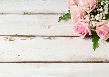 Pink Roses Flowers on Right Top Horizontal Texture Wood Photography Background Props