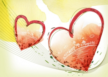 Red Heart Shape Wall Background Valentine's Day Backdrop