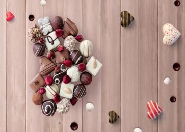 Sweet Chocolate Heart Shape Wood Board Valentine's Day Backdrop