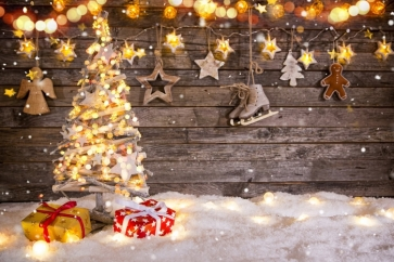 White Snow Christmas Tree Lights Wood Background Photography Backdrops
