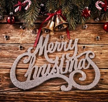 Merry Christmas Bells Balls Wood Background Photo Wall Backdrop