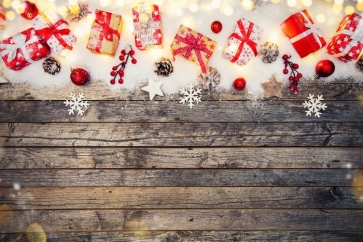 Christmas Gifts Snowflakes Wood Background Photo Backdrop