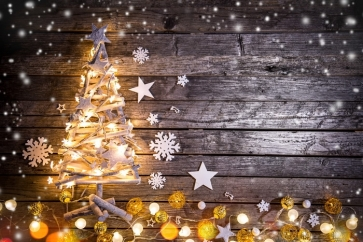 Christmas Tree Lights Snowflakes Wood Background Camera Backdrops