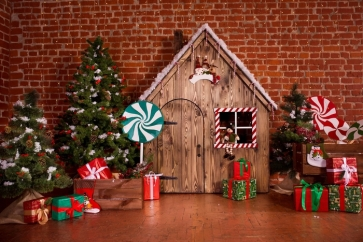 Indoor Red Brick Wall Christmas Tree Gifts Photo Prop Background