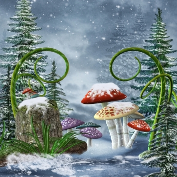 Scenic Winter Forest Mushrooms in Fairy Tale Christmas Party Picture Backdrop