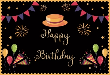 Top Hat Banner Theme Men Happy Birthday Backdrop Party Photography Background Decorations Props