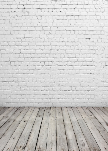 White Brick Wall Backdrop Wood Floor Studio Photography Background