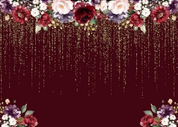 Golden Glitter Flower Bridal Shower Wedding Backdrop Photo Studio Photography Background