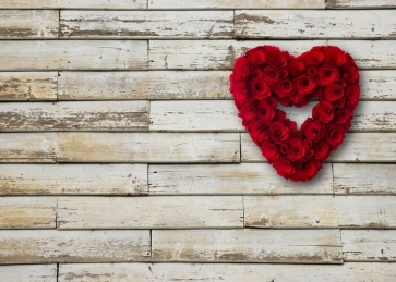 Red Rose Flower Wood Backdrop Valentines Day Photography Background