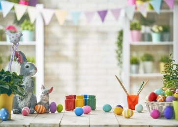 Painting Eggs Bunting Child Baby Birthday Party Backdrop
