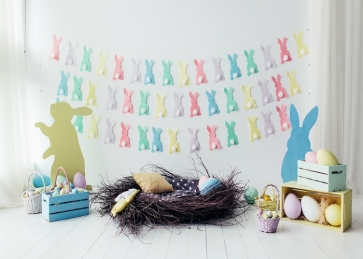 Painting Eggs Rabbit Bunting Wood Floor Newborns Baby Shower Backdrop Photography Background