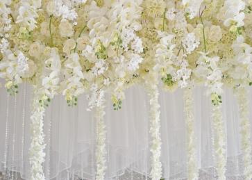White Flower Wall Wedding Backdrop Bridal Shower Photography Background