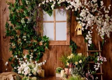 Retro Wood Wall Flower Backdrop Bridal Shower Wedding Photography Background