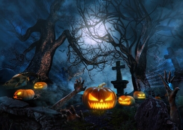 Scary Cemetery Pumpkin Halloween Backdrop Party Stage Photography Background