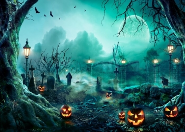 Under The Moon Sky Scary Cemetery Pumpkin Halloween Party Backdrop