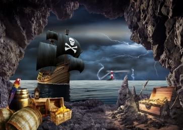 Under Lightning Pirate Ship Backdrop Halloween Stage Party Background