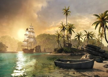 On The Sea In Sunset Pirate Ship Backdrop Stage Party Background