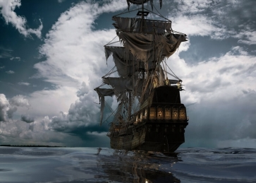 Scary Pirate Ship Backdrop Halloween Stage Party Background