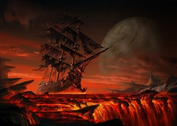 On Red Magma Scary Pirate Ship Backdrop Halloween Stage Party Background