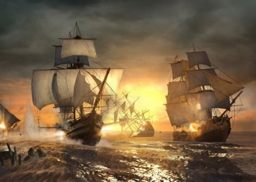 In Battle Pirate Ship Backdrop Halloween Stage Party Background