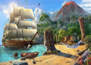 Moored On The Coast  Pirate Ship Scenic Backdrop Party Background