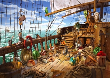 Pirate Ship Deck  Backdrop Halloween Stage Party Background