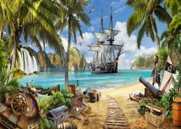 Beach Pirate Ship Scenic Backdrop Party Background