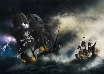 Storm Thunder Lightning Scary Pirate Ship Backdrop Halloween Stage Party Background