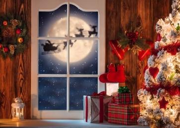 Santa Claus Flying Sleigh Outside Window Christmas Backdrop Studio Photography Background