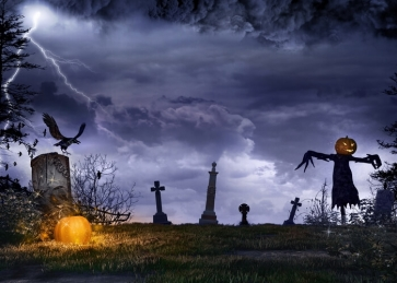 Scary Cemetery Pumpkin Scarecrow Halloween Backdrop Party Stage Background