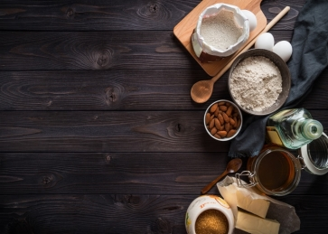 Baking Ingredients Pastry Kitchen Dark Wood Backdrop Studio Photography Background