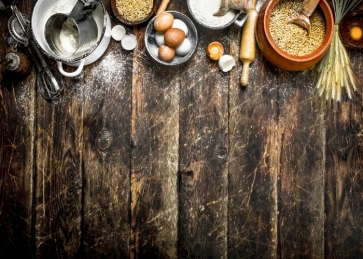 Creative Dark Wood BackdropEggs Flour And Tools Baking Ingredients Pastry Kitchen Studio Photography Background