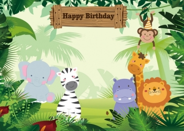 Cartoon Animal Forest Background Happy 1st Birthday Party Backdrop