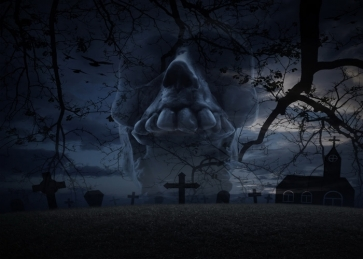 Terrifying Dark Cemetery Graveyard Scary Skull Halloween Backdrop Studio Stage Photography Background