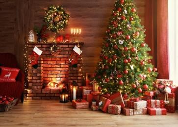 Santa's Gift Box Wood Floor Brick Fireplace Christmas Tree Backdrop Party Photography Background