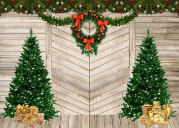 Wood Wall Christmas Tree Backdrop Stage Merry Christmas Party Photography Background