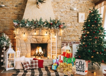 Retro Stone Brick Wall Fireplace Christmas Tree Backdrop Photo Booth Party Photography Background