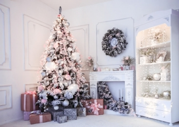 Room Interior White Wood Wall Christmas Tree Backdrop Photo Booth Party Photography Background