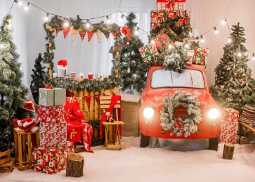 Santa's Workshop Backdrop Stage Photo Booth Christmas Photography Party Background