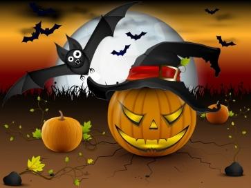 Pumpkin Bat Theme Background Halloween Party Backdrop