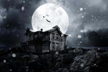 House Under Black Night Sky Moon Outdoor Halloween Backdrop
