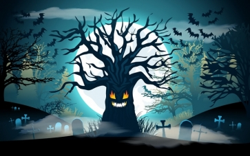 Scary Black Tree Monster Bat Under Blue Night Sky Halloween Party Backdrop