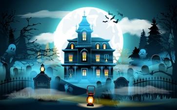 Anime Fairy Tale Style Castle Moon Theme Halloween Backdrop