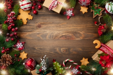 Wood Board With Christmas Tree Leaves Gift Box Decoration Christmas Backdrop