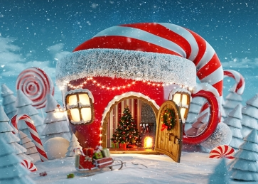 Christmas Hat House Snow Covered Christmas Store Background Christmas Party Backdrops